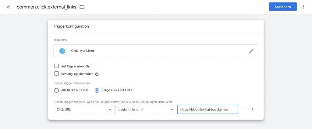 "Google Tag Manager Menü ""Triggerkonfiguration"""