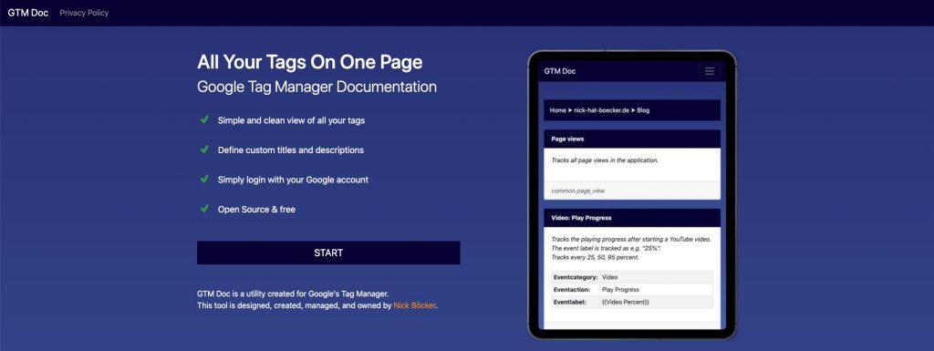 Screenshot der Anwendung GTM Doc