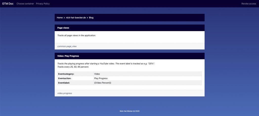 Screenshot der Anwendung GTM Doc: Tagübersicht