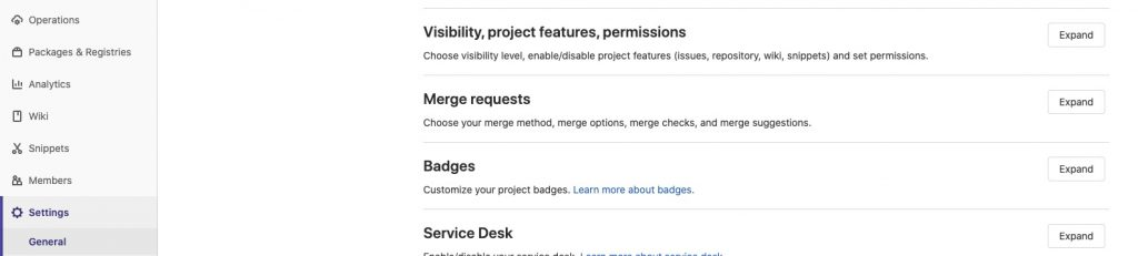 Screenshot vom GitLab Interface: Settings