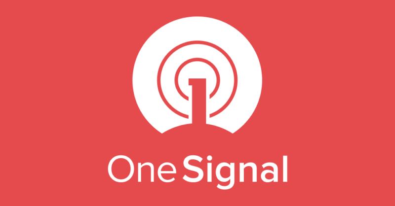 Weißer Schriftzug One Signal und das OneSignal Logo auf rotem Hintergrund