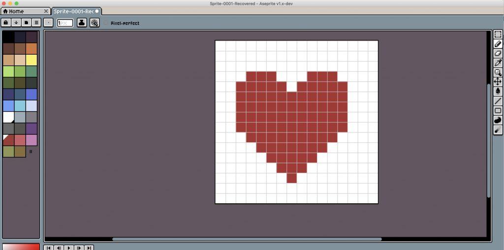 Screenshot des Pixeltools Aseprite