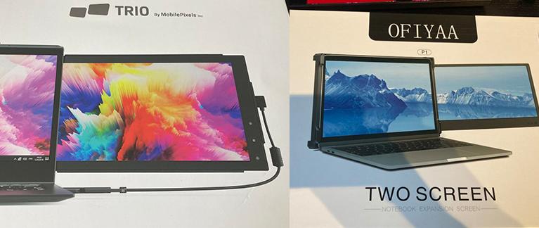 Foto von zwei Bildschirm-Verpackungen. Links Mobile Pixels TRIO Monitor. Rechts OFIYAA P1.
